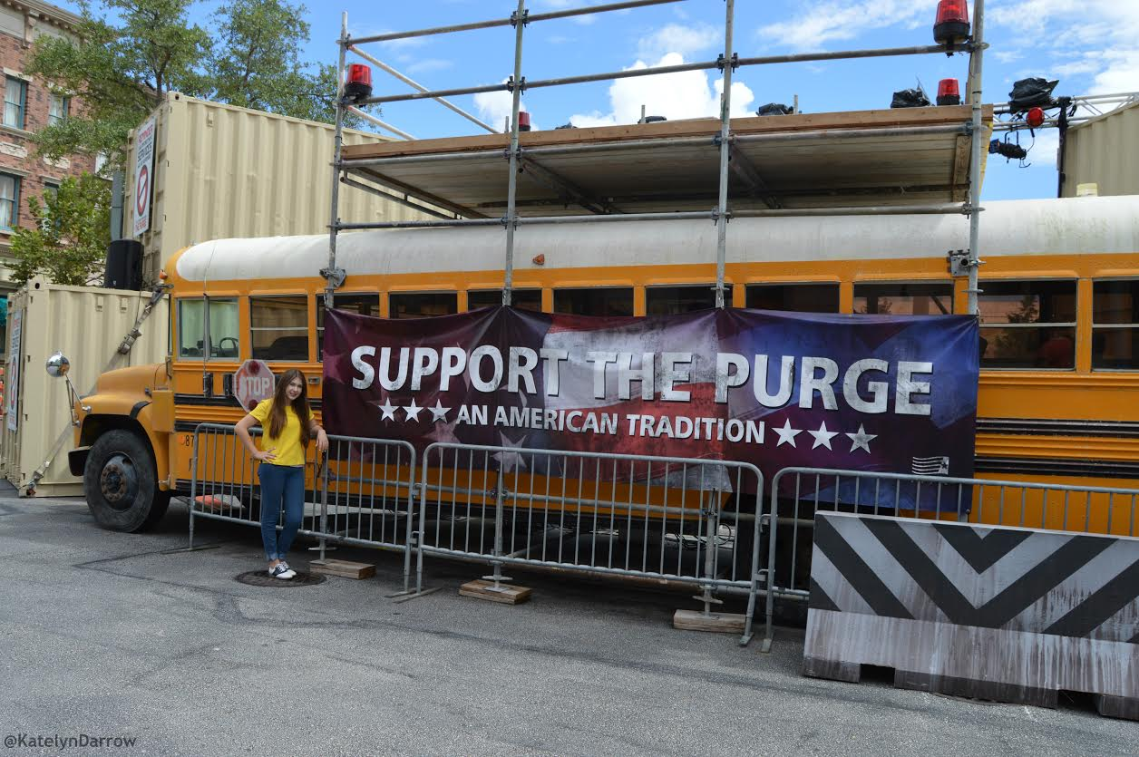 "Posing with the ""Support the Purge"" bus. The sets were extremely realistic!"